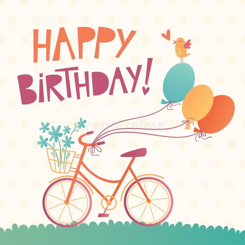 Tarjeta del vector del feliz cumpleaños con una bicicleta imagen de archivo