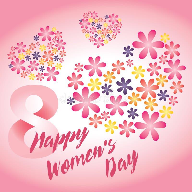 Tarjeta del vector del rosa del día del ` s de las mujeres imagenes de archivo