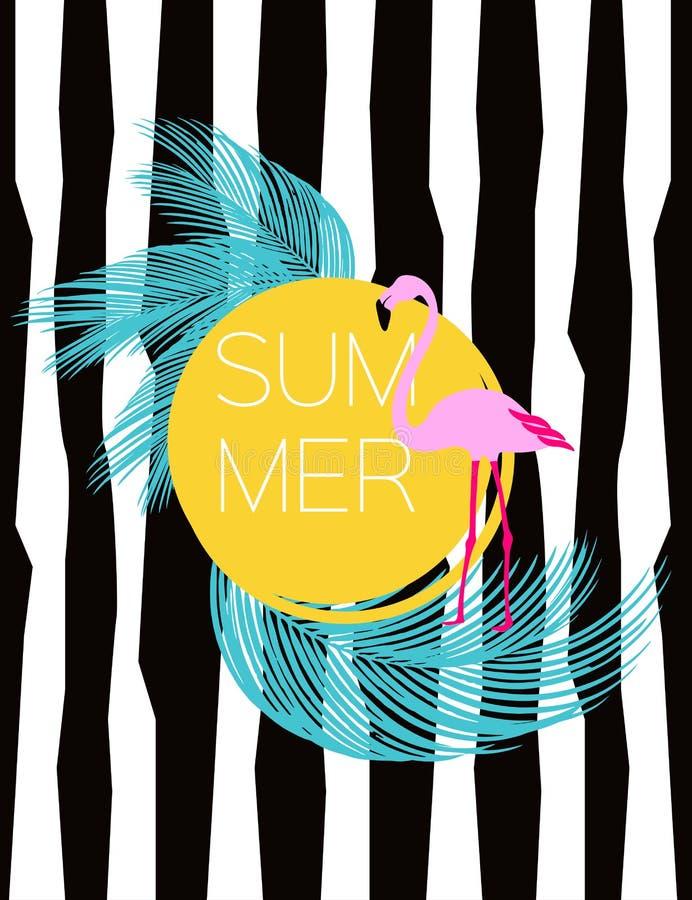 Tarjeta del vector del verano Flamenco y hojas de palma Fondo del ejemplo libre illustration