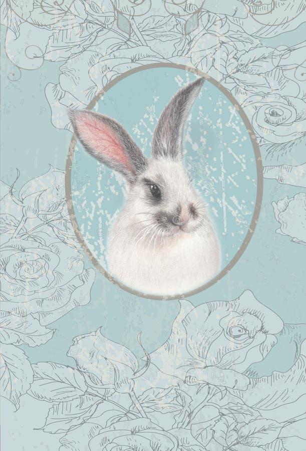 Tarjeta del vintage con el conejito blanco ilustración del vector