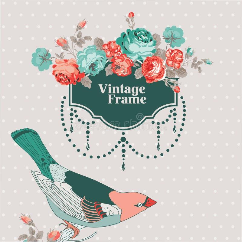 Tarjeta del vintage con el marco retro ilustración del vector