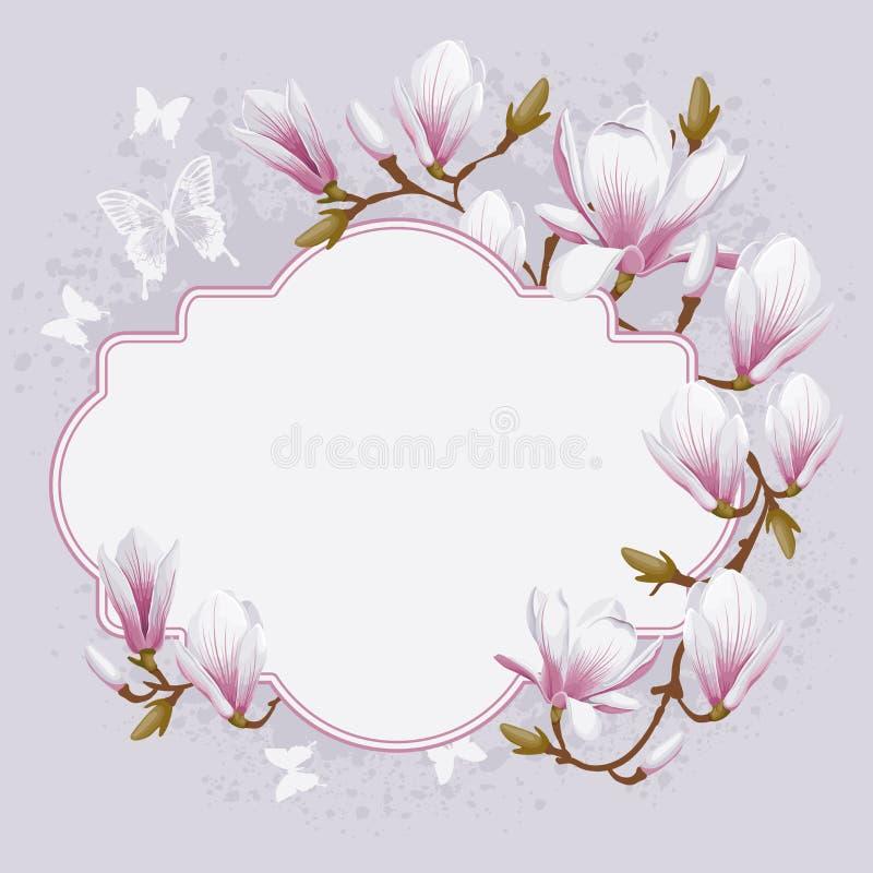 Tarjeta del vintage con la magnolia stock de ilustración