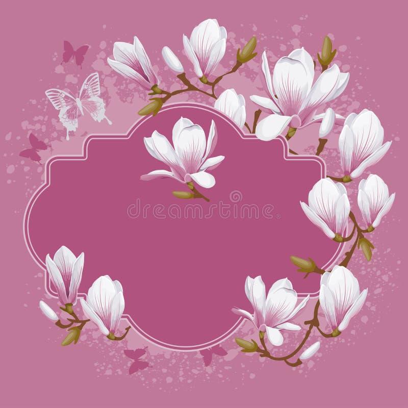 Tarjeta del vintage con la magnolia ilustración del vector