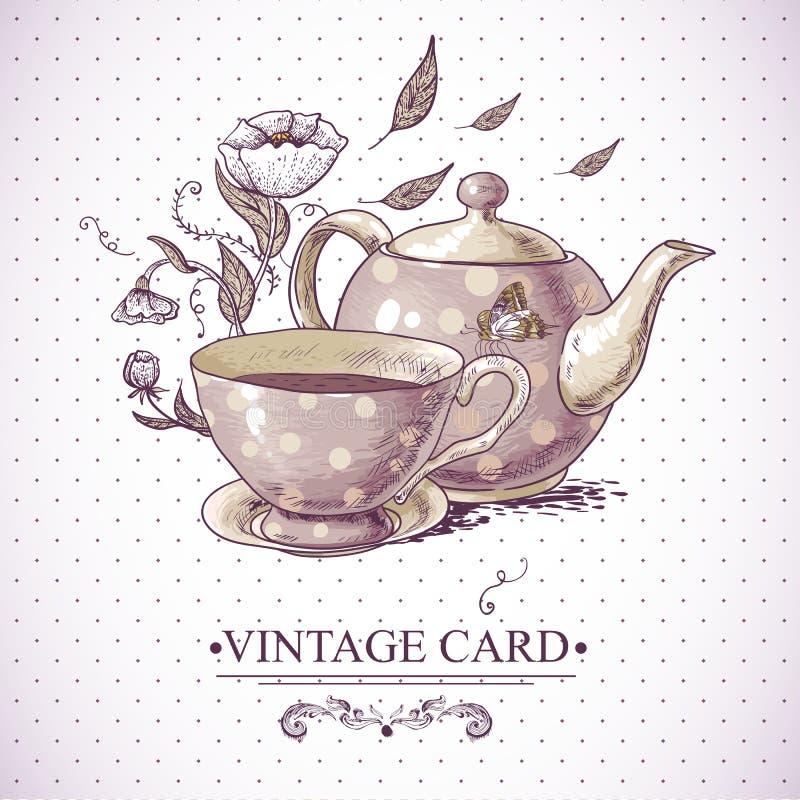Tarjeta del vintage con la taza, el pote, las flores y la mariposa ilustración del vector