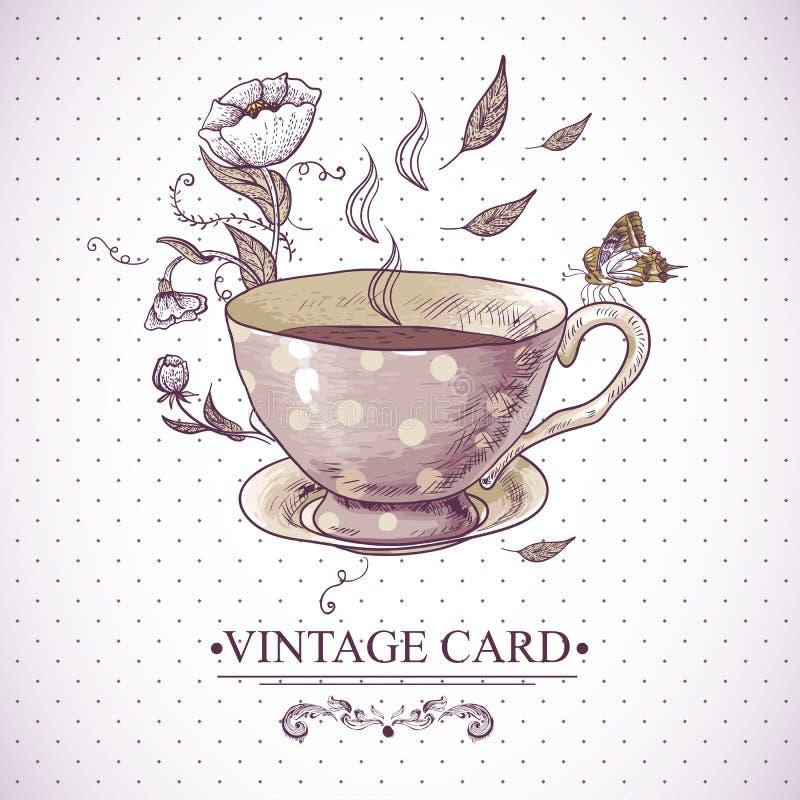 Tarjeta del vintage con la taza, las flores y la mariposa stock de ilustración