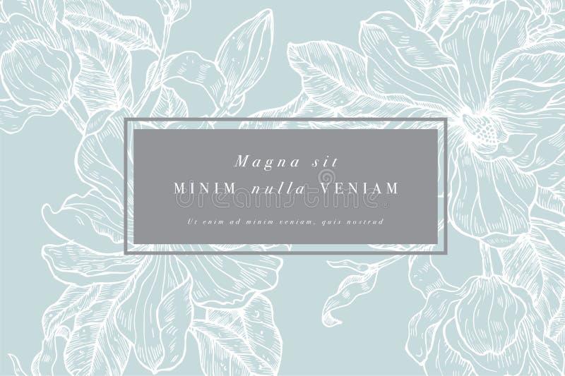 Tarjeta del vintage con las flores de la magnolia Guirnalda floral Marco de la flor para el flowershop con dise?os de la etiqueta stock de ilustración