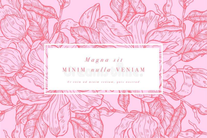 Tarjeta del vintage con las flores de la magnolia Guirnalda floral Marco de la flor para el flowershop con dise?os de la etiqueta ilustración del vector