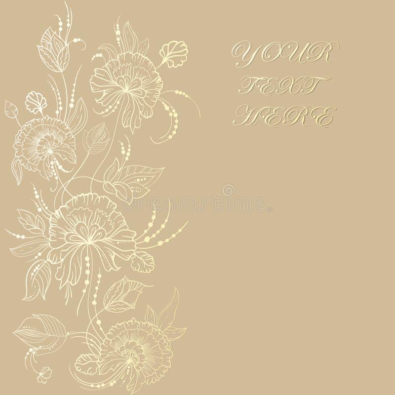 Tarjeta del vintage con las flores en fondo Cubierta de libro con textura de la flor Ilustración del vector fotos de archivo