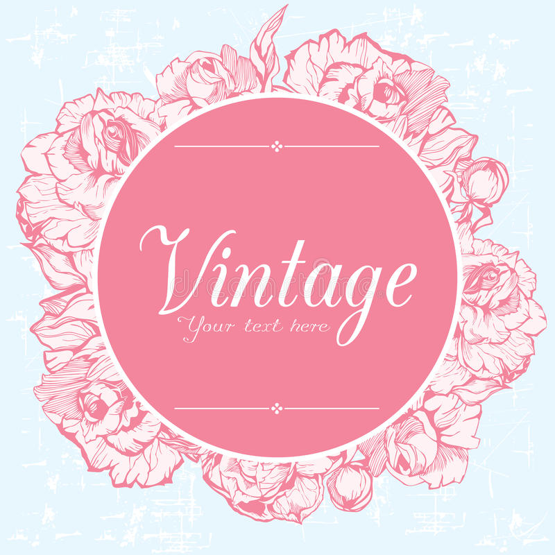 Tarjeta del vintage con las peonías stock de ilustración