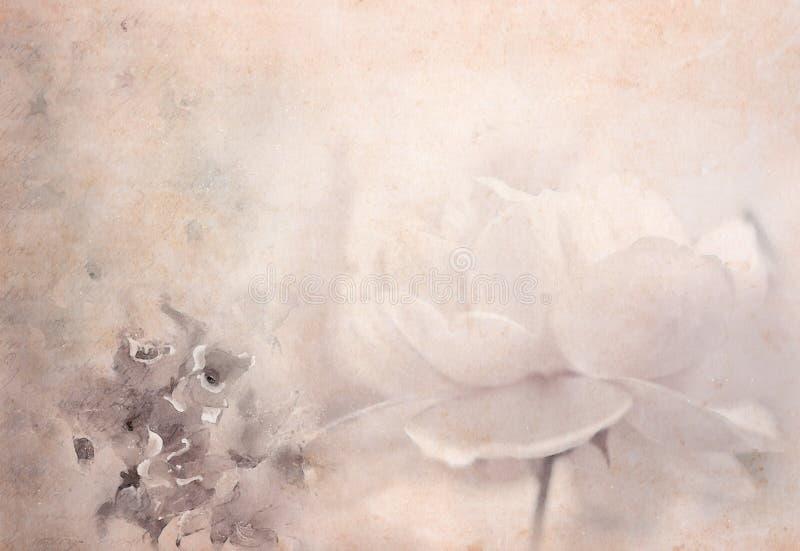 Tarjeta del vintage con las rosas ilustración del vector