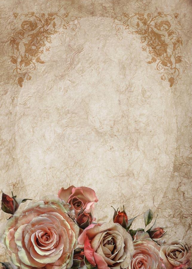 tarjeta del vintage con las rosas y los ngeles stock de