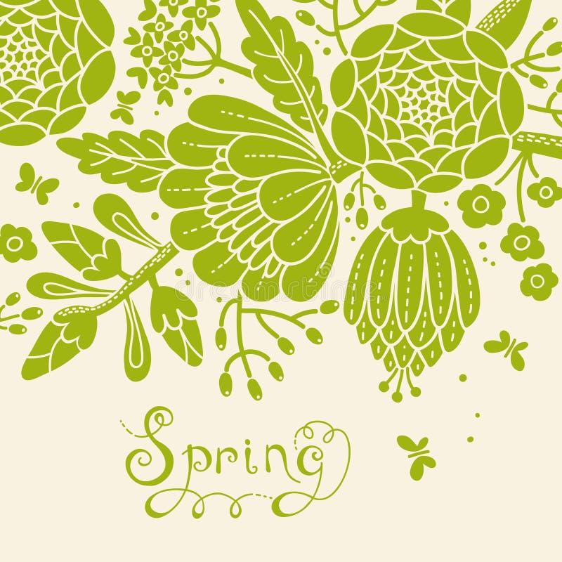 Tarjeta del vintage con una rama floreciente. libre illustration