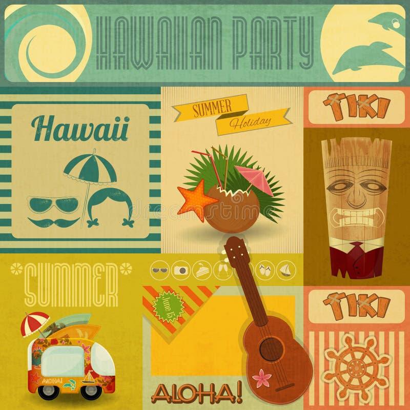 Tarjeta del vintage de Hawaii stock de ilustración