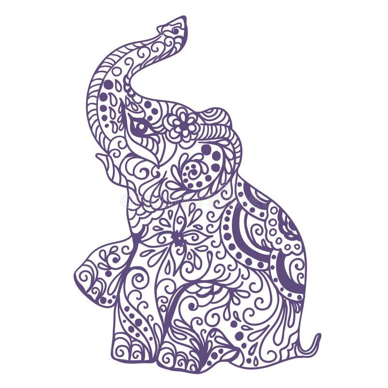 Tarjeta del vintage de la invitación con el elefante stock de ilustración