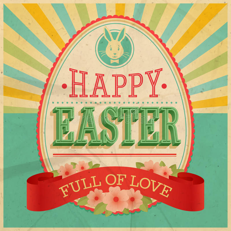 Tarjeta del vintage de Pascua. ilustración del vector