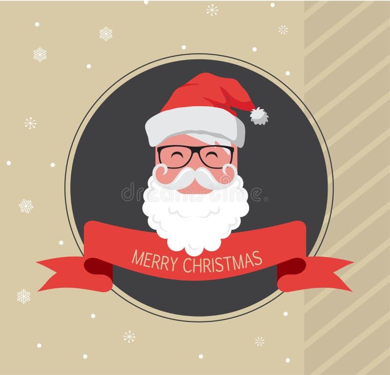 Tarjeta del vintage del inconformista Papá Noel Feliz Año Nuevo stock de ilustración