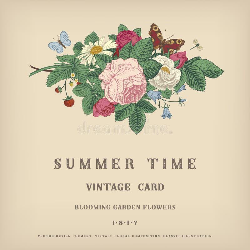 Tarjeta del vintage del vector del verano stock de ilustración
