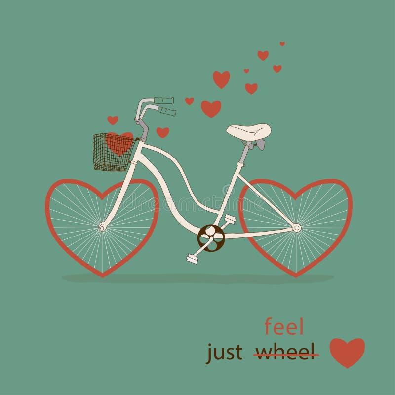 Tarjeta del vintage en vector. Bici linda con el inst de los corazones ilustración del vector