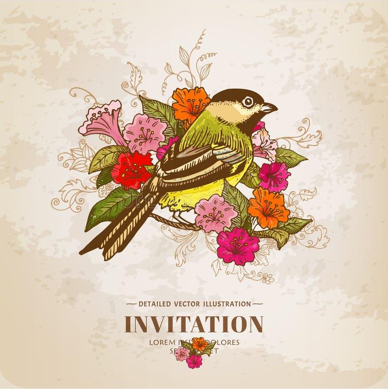 Tarjeta del vintage - flores y pájaro ilustración del vector