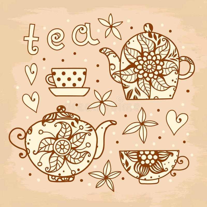 Tarjeta del vintage. Juego de té de elementos para el diseño. ilustración del vector