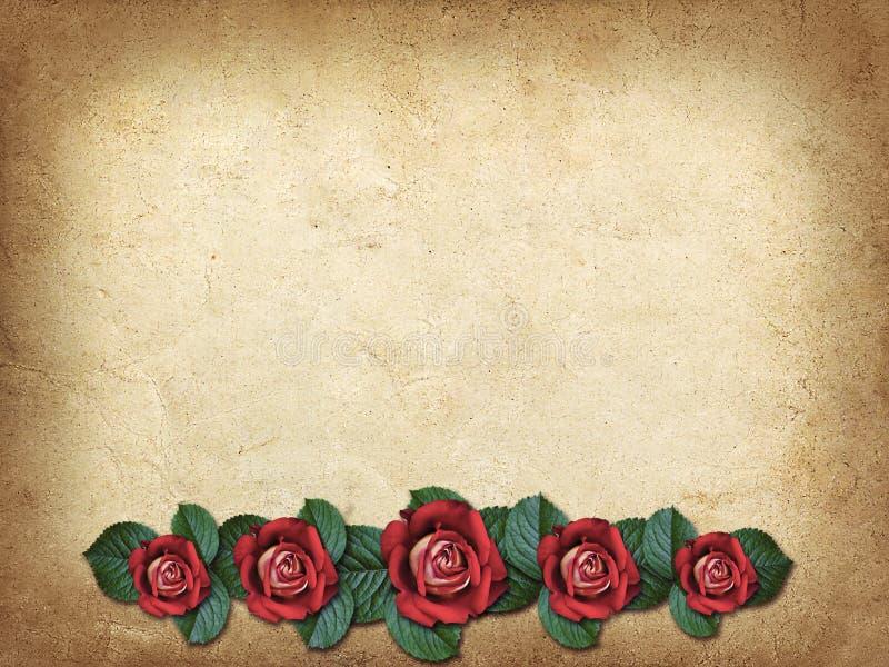 Tarjeta del vintage para la enhorabuena con tres rosas rojas stock de ilustración