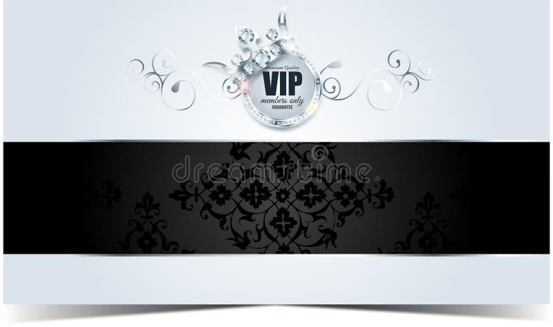 Tarjeta del Vip Fondo de plata Calidad superior corona ilustración del vector