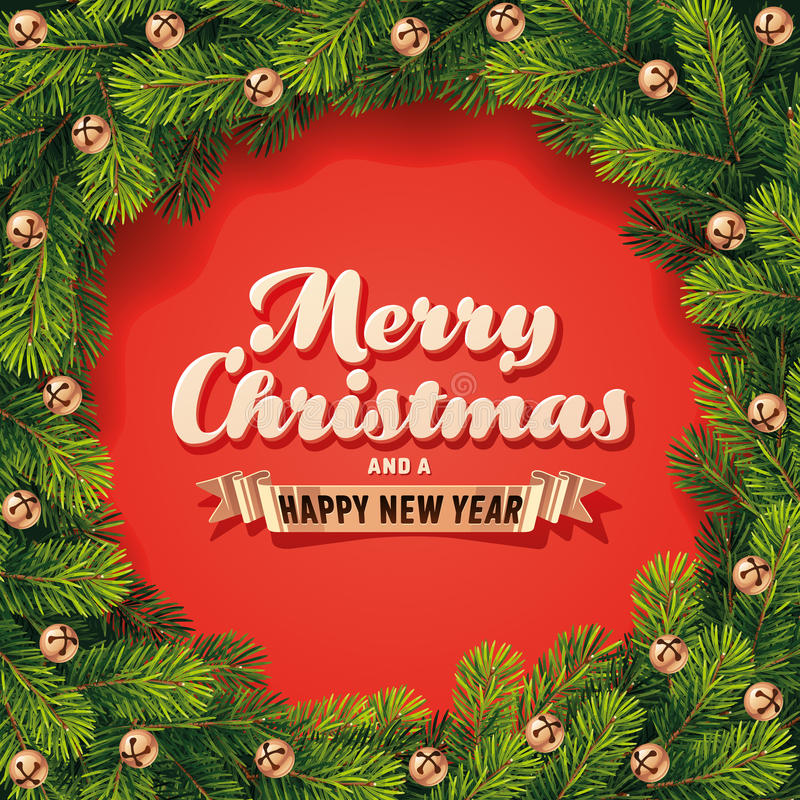 Tarjeta detallada de la guirnalda de la Navidad imagenes de archivo