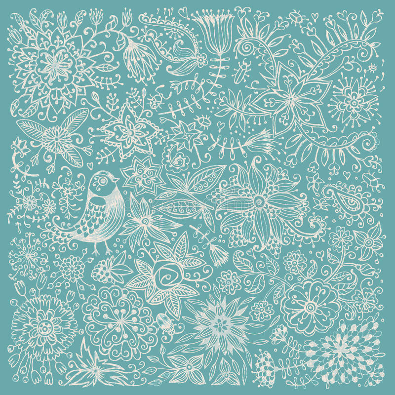 Tarjeta dibujada mano con las flores y el pájaro libre illustration