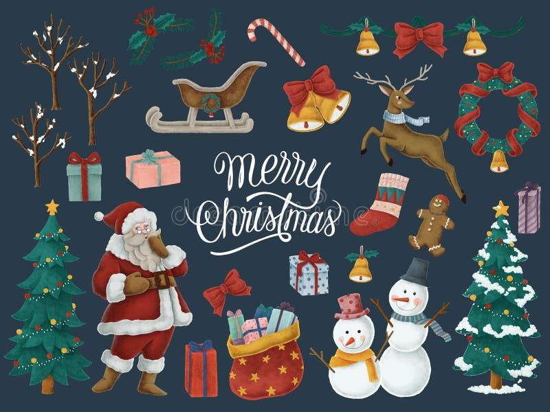 Tarjeta dibujada mano de la Feliz Navidad libre illustration
