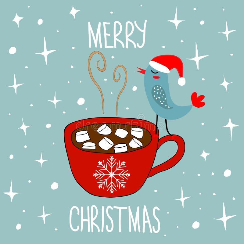 Tarjeta dibujada mano de la Feliz Navidad del garabato Taza roja con el pájaro de Kawaii de las melcochas del cacao del chocolate ilustración del vector