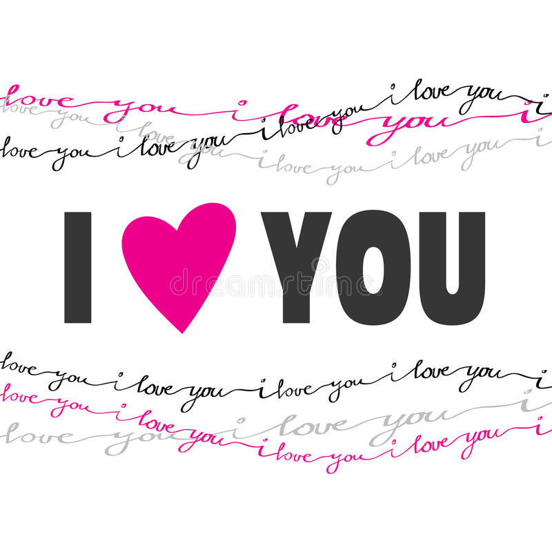 Tarjeta dibujada mano de la tipografía Tarjeta del amor de la tarjeta del día de San Valentín ilustración del vector