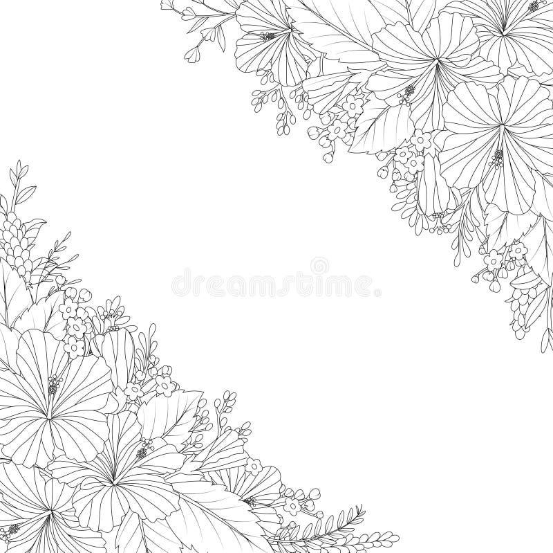 Tarjeta dibujada mano floral de la invitación ilustración del vector