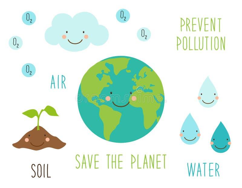 Tarjeta dibujada mano linda del día del ambiente mundial con el carácter sonriente de la tierra del planeta libre illustration
