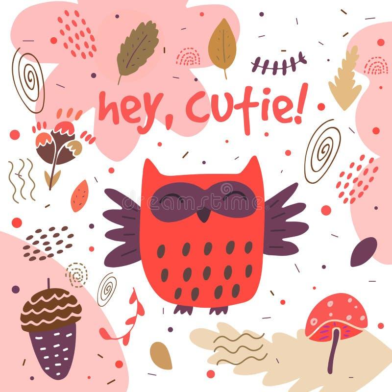 Tarjeta dibujada mano linda, postal con el búho libre illustration