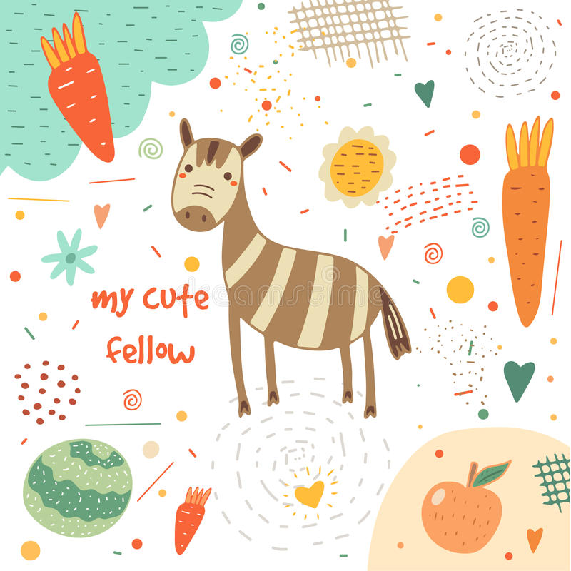 Tarjeta dibujada mano linda, postal con la cebra libre illustration