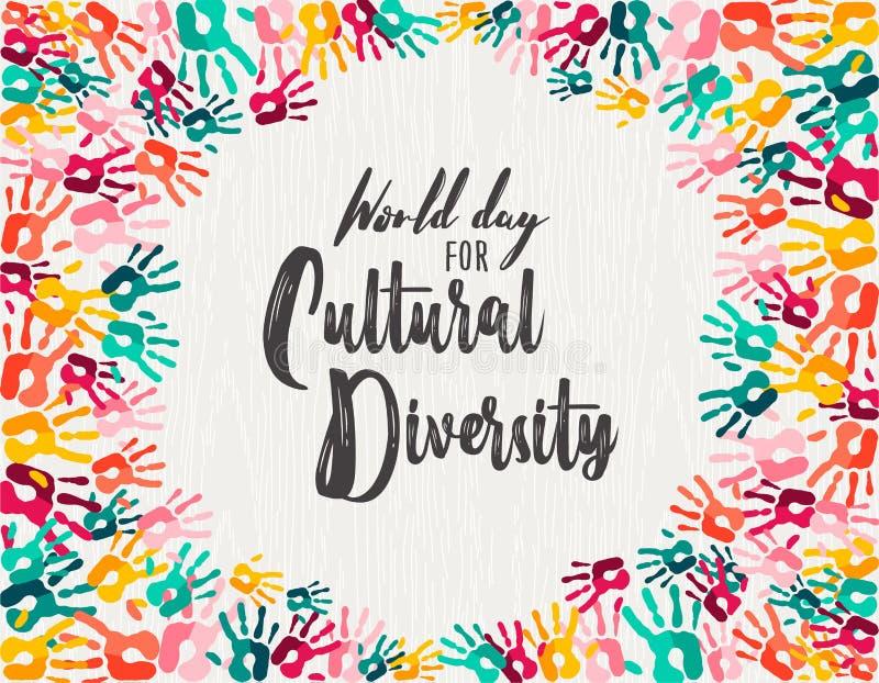 Tarjeta diversa de la impresión de la mano del día de la diversidad cultural stock de ilustración