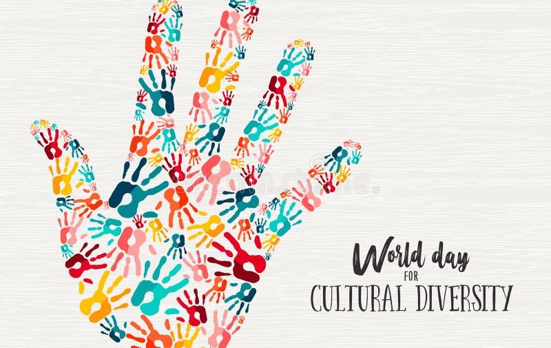 Tarjeta diversa del concepto de la mano del día de la diversidad cultural stock de ilustración
