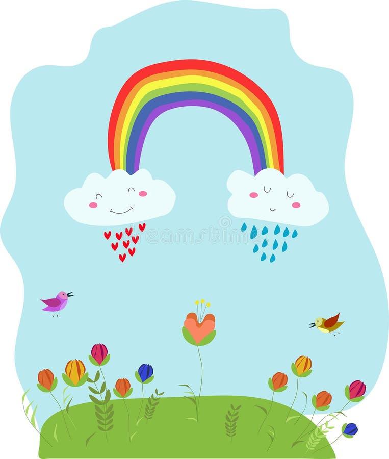 Tarjeta divertida linda de la historieta del kawaii del vector, ejemplo con el arco iris, nubes sniling, flores y pájaros stock de ilustración