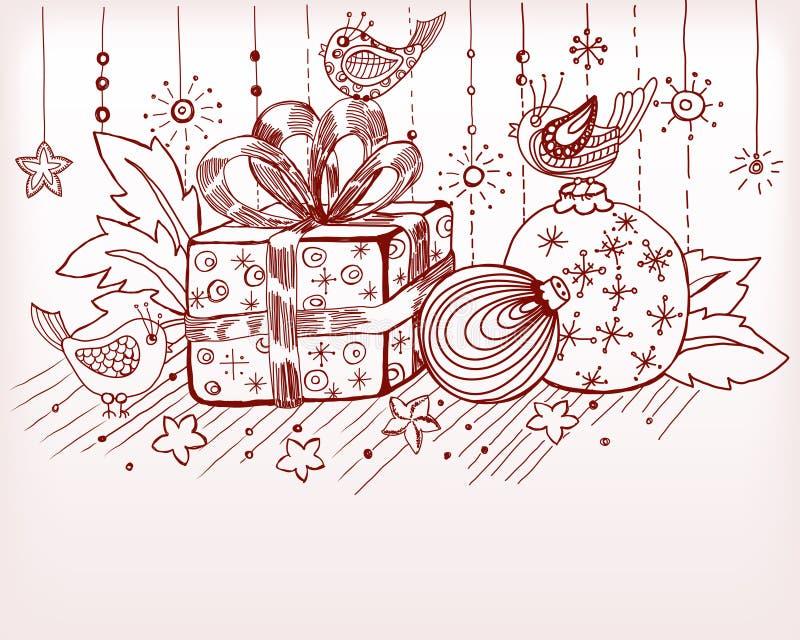 Tarjeta drenada mano de la Navidad para el diseño de Navidad stock de ilustración
