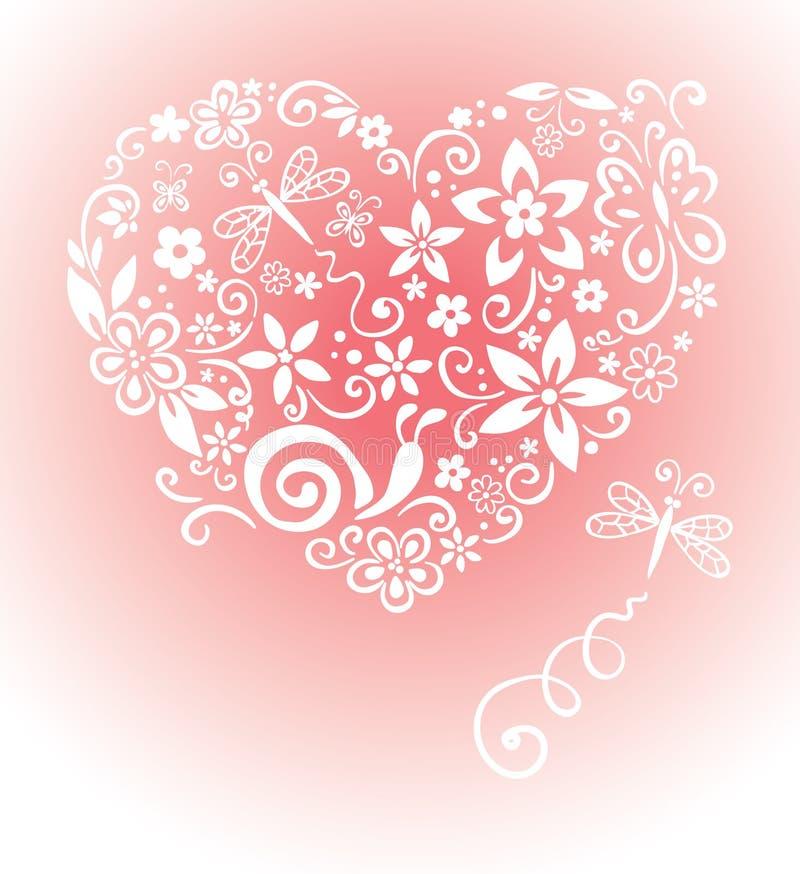 Tarjeta dulce con un corazón stock de ilustración