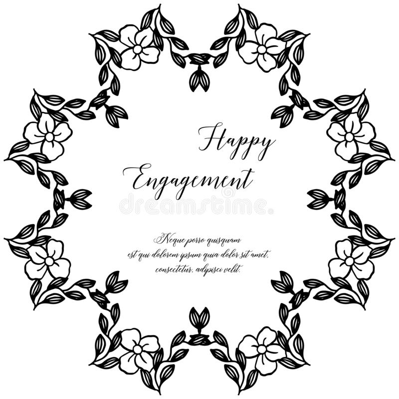 Tarjeta elegante, con las letras del compromiso feliz, marco floral elegante del diseño en blanco y negro Vector stock de ilustración