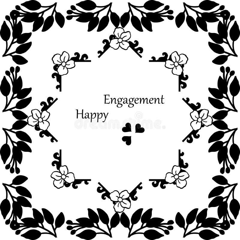 Tarjeta elegante, con las letras del compromiso feliz, marco floral elegante del diseño en blanco y negro Vector ilustración del vector