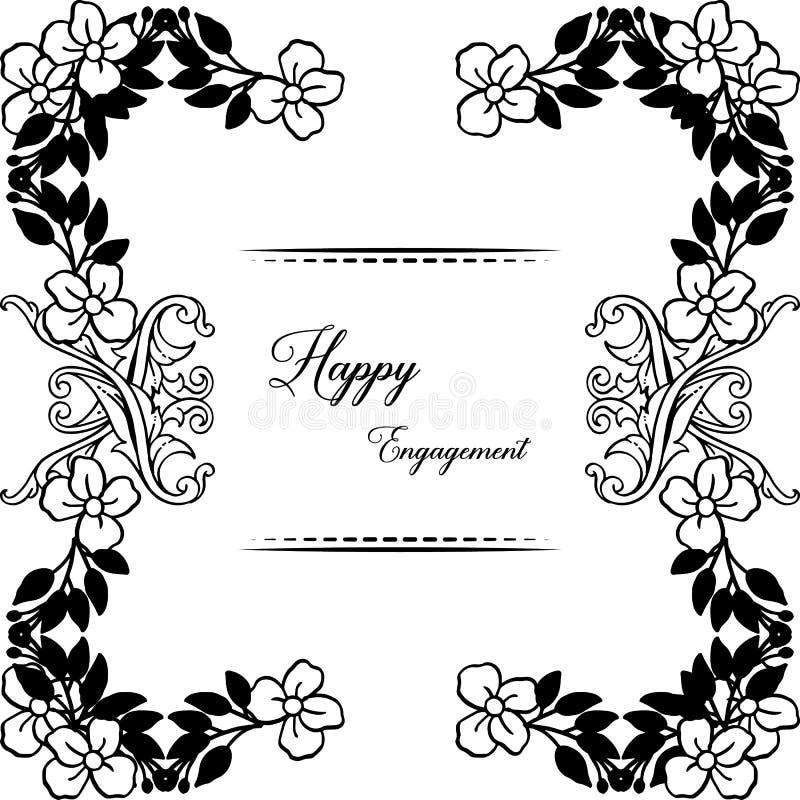 Tarjeta elegante, con las letras del compromiso feliz, marco floral elegante del diseño en blanco y negro Vector libre illustration