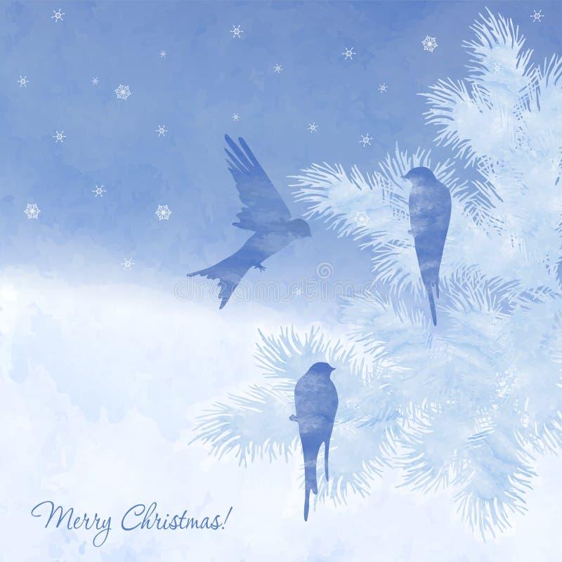 Tarjeta elegante de la acuarela de la Navidad ilustración del vector