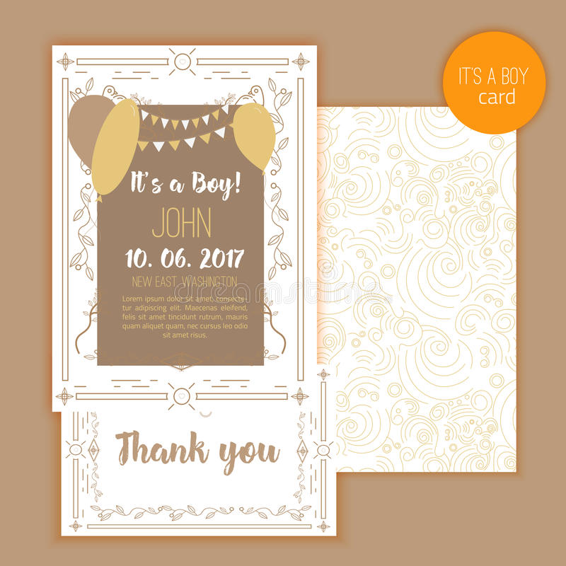 Tarjeta elegante de la fiesta de bienvenida al bebé Ideal para la reserva la fecha, día de madres, día de tarjetas del día de San libre illustration