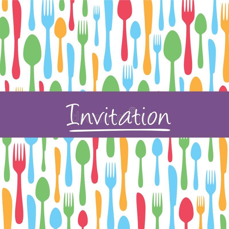 Tarjeta elegante de la invitación con el fondo de los cubiertos stock de ilustración