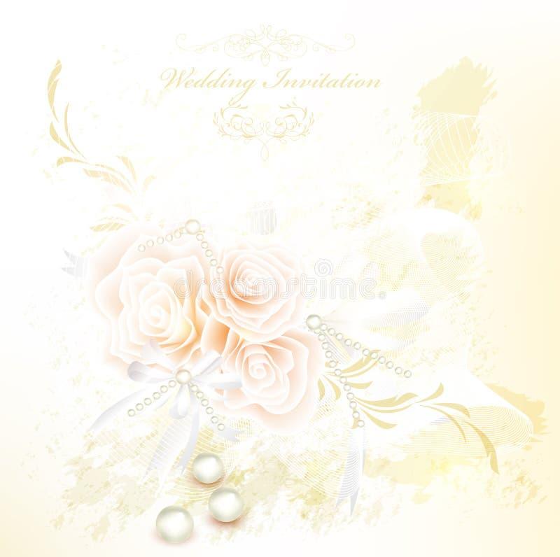 Tarjeta elegante de la invitación de la boda con las rosas libre illustration