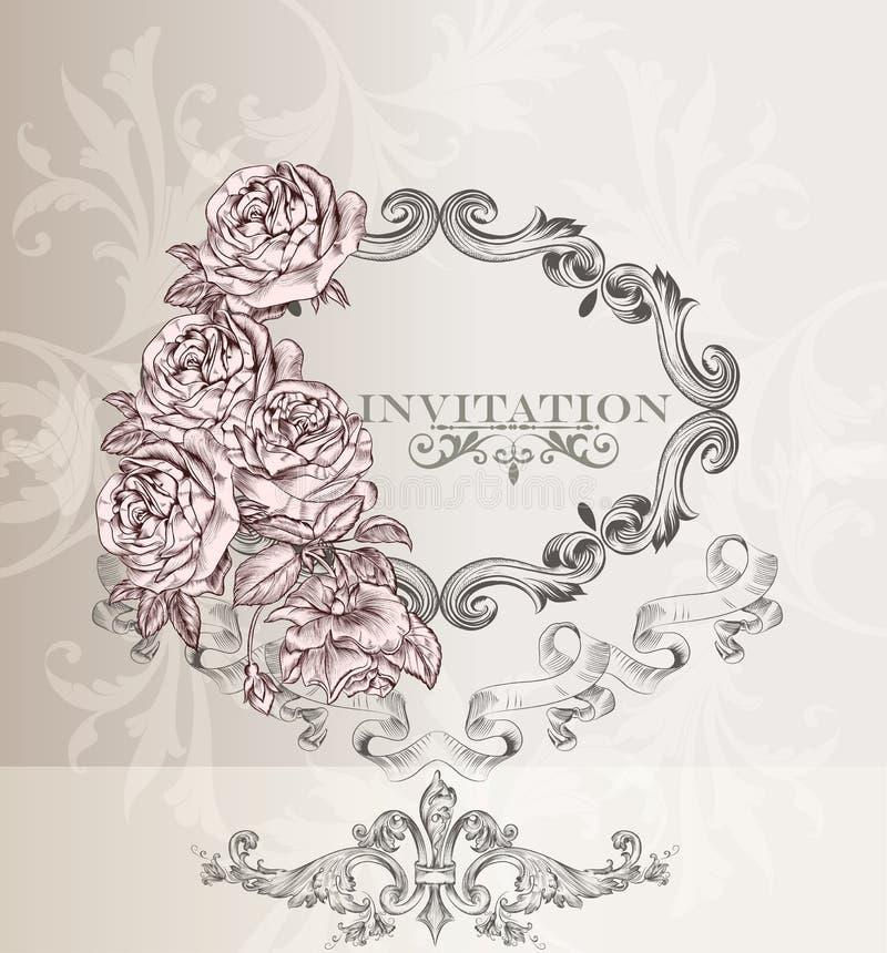 Tarjeta elegante de la invitación de la boda para el diseño stock de ilustración