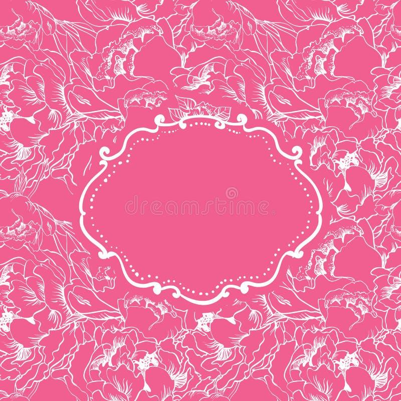 Tarjeta elegante de la invitación en fondo inconsútil de la flor. libre illustration