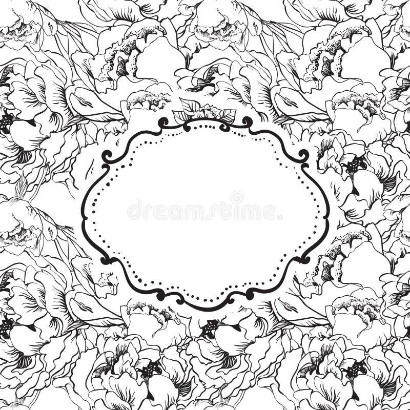 Tarjeta elegante de la invitación en fondo inconsútil de la flor. Vector IL libre illustration